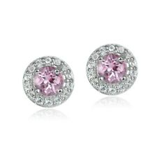 Sterling Silver 0.70ct Pink Topaz & White Topaz 4mm Halo Stud Earrings