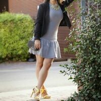 Zara Drop Waist Dress Womens Size Medium Black White Knit Sleeveless