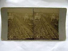 STEREO CARD PHOTOGRAPH DUKES VISIT PROCESSION SWANSTON ST MELBOURNE