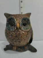 "Vintage Napcoware Owl On Branch Planter Vase Brown Ceramic Japan 6"" Tall"
