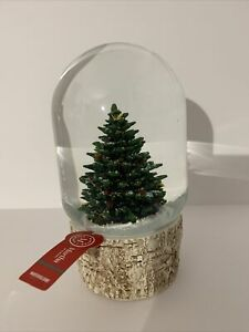 Martha Stewart Christmas Tree SnowGlobe Waterglobe Birch Wood Base No Music
