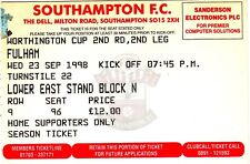 Ticket - Southampton v Fulham 23.09.98 League Cup