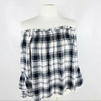 Altar'd State Womens Small Long Sleeve Black and White Plaid Off Shoulder Top