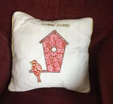 Kirstie Allsopp Cushion Tweet Tweet Strawberry, 45 x 45cm, Feather Pad, New