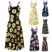 Women Lady Sleeveless Printing Loose Dress for Summer Beach Party Holiday
