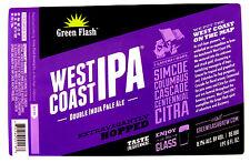 Green Flash Brewing  WEST COAST IPA beer label CA 22oz