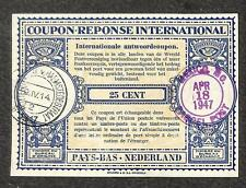 IRC INTERNATIONAL REPLY COUPON NETHERLANDS 25 CENT TYPE B5 1947 USA PARCEL POST