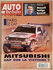 Auto Hebdo 7/01/1992; Paris-Le Cap/ Mitsubishi/ Mansell fustige Renault