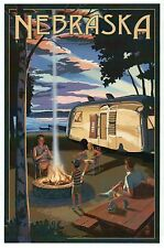 Nebraska Camping, Camper & Lake, Recreational Vehicle RV, Fire - Modern Postcard
