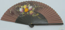 Vintage Hand Painted Spanish Fan w Flower Decoration, Made In Spain
