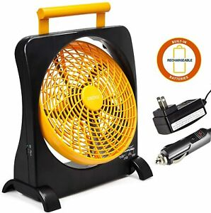 """O2COOL 10"""" Rechargeable Battery Operated Fan - Portable for Emergencies - Orange"""