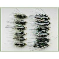 Trout flies, Lures, 12 Pack Olive & Black Fritz Sparkle, Size 10, Fishing flies
