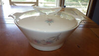 Vintage Covered Casserole Handled Serving Bowl Blue Pink Floral Ca 1930/40  9""