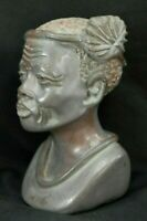 N. Fonbe, Gray Stone Marble Bust Sculpture, African Woman, 4.8 Inches