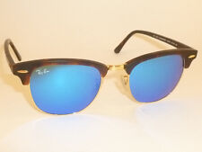 New RAY BAN  Clubmaster  Matte Tortoise RB 3016 1145/17  Blue Mirror Lenses 51mm