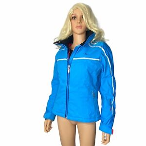 Marker Evolution Blue Fitted Ski Winter Jacket 8 Side Vents Zip Hood Women's EUC