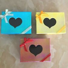 Set of 3 Jewelry Gift Boxes Paper Red/Blue/Yellow Heart Shape With Window