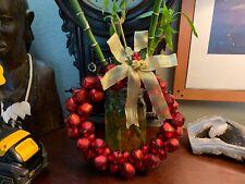 JINGLE BELL WREATH DOOR / WALL DECORATION - RED Metal Bells GOLD GREEN Pristine