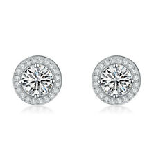 Sterling Silver Platinum Plated CZ Round Halo Stud Earring 925 BRAND NEW Quality