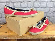 F troupe Femmes UK 7 rouge marron toile F troupe Plat Chaussures