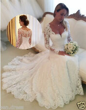 Vintage Long Sleeves Lace Mermaid Wedding Dresses 2016 Vestidos De Novia Custom