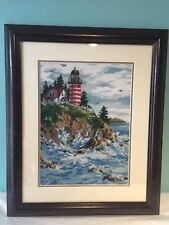 Lighthouse Needlepoint Art Finished Framed and Matted Embroidery Beach Sea Ocean