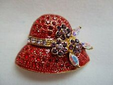 Red Hat Society Pin/Brooch Red Purple Iridescent & Clear
