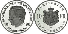 Liechtenstein: 10 Franken silver 1990 - Proof