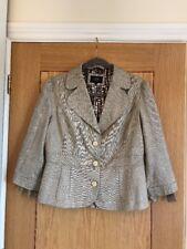 PER UNA SPEZIALE Beige 3/4 Sleeve Linen Blend Fitted Blazer Jacket Size 12  NEW