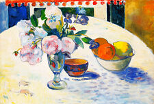 Flowers and a Bowl of Fruit on a Table by Paul Gauguin 75cm x 51cm Art Print