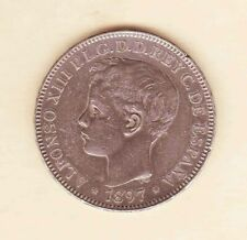 Philippines Spain 1897 ALFONSO XIII UN Peso Crown Silver,XF, light toned