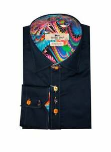 Claudio Lugli Mens Long Sleeve Stitch Shirt Navy