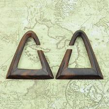 Narra Wood Triangle Hangers Ear Gauges Piercing Jewelry