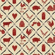 Farm To Table By Windham Fabrics  -  Cream Animal Grid