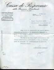 Autografo storia lh 909 banca cassa risparmio province lombarde vice direttore