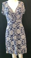 FAT FACE Women's Blue Printed Fitted Dress UK 12