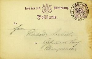 GERMANY WURTTEMBERG 1890 5pf POSTAL CARD FROM HEILBRONN TO GUMMERSBACH