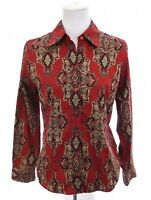 Jones New York Signature Womens Button Down Up Shirt Paisley Print Red Sz Small