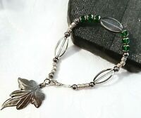 Silver Filigree Green Jade Beaded Leaf Charm Bracelet New! ~EugeniaM Designs