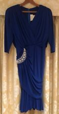 LESHGOLD Blue Fishtail Ruched Evening Gown with Silver & Gold Feature. Size 12