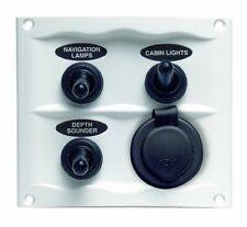 Bep 900-3Wps Splash Proof Switch Panel, 3 Gang W/ 12V Power Socket