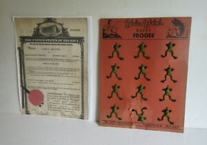 OLD Vintage 1944 Lure Display RARE Water Witch  Baits Frogee  Indiana