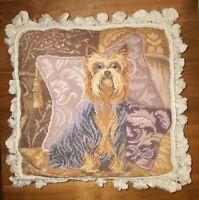 Yorkshire Terrier Yorkie Needlepoint Pillow - Wool With Velvet