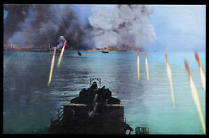 WWII Rockets pound Japanese positions postcard