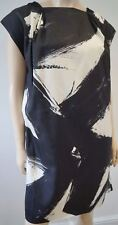 PRINGLE OF SCOTLAND Navy Black Cream Silk Abstract Print Short Shift Dress UK10