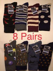 Men's Fashion Dress Socks 8 Pairs Polkadots Stripes Dog Red Chili Billiard Ball