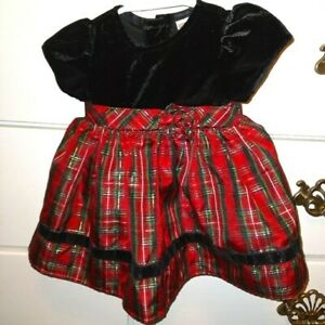 GIrl's George's Holiday Black Velvet and  Red Plaid Dress 3-6 months