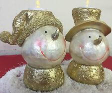 Set of 2 Large Mosaic Glazed White & Gold Snowman Candle Holder Ornament 72-6028