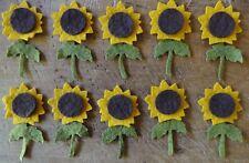 New listing pRiMiTiVe Wool Felt Die Cut Shapes~Penny Rug~Applique~10 Sunflowers~30 pcs~