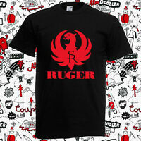 New RUGER Pistols Riffle Firearms Logo Men's Black T-Shirt Size S to 3XL